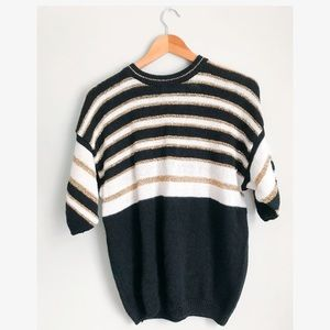 Vintage Black White and Gold Sweater